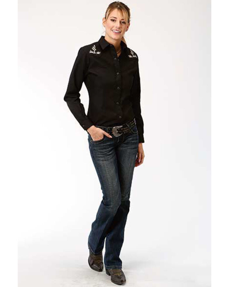 Karman Women's Black Cactus Embroidered Long Sleeve Western Shirt, Black, hi-res