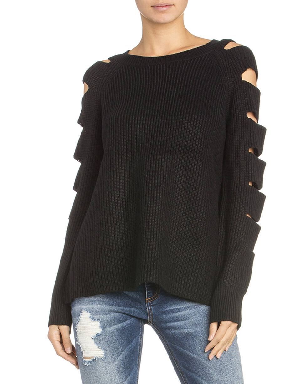 Miss Me Women's Ladder Cut Out Sleeve Sweater, Black, hi-res
