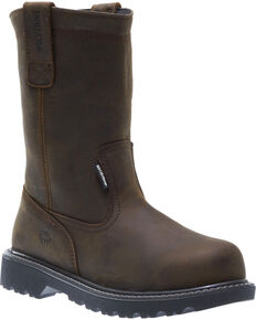 Wolverine Men's Floorhand Waterproof Wellington Work Boots - Steel Toe, Dark Brown, hi-res
