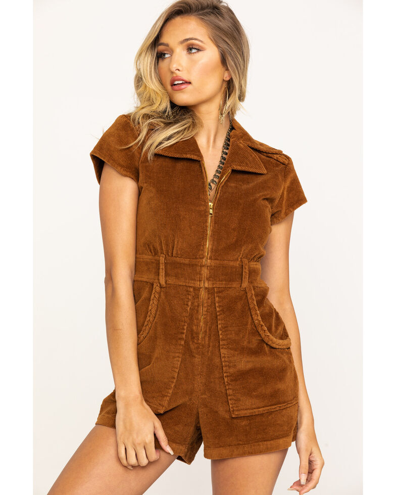 Show Me Your Mumu Women's Outlaw Corduroy Saddle Brown Romper, Brown, hi-res