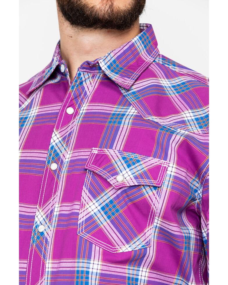 Wrangler 20X Men's Advanced Comfort Berry Plaid Short Sleeve Western Shirt, Red, hi-res