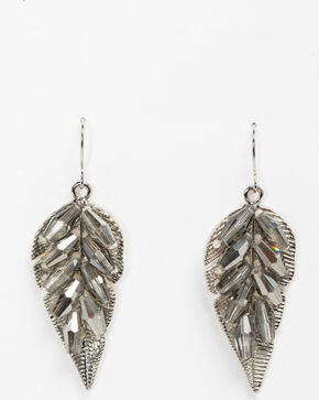 Shyanne Women's Clear Stone Leaf Earrings, Silver, hi-res