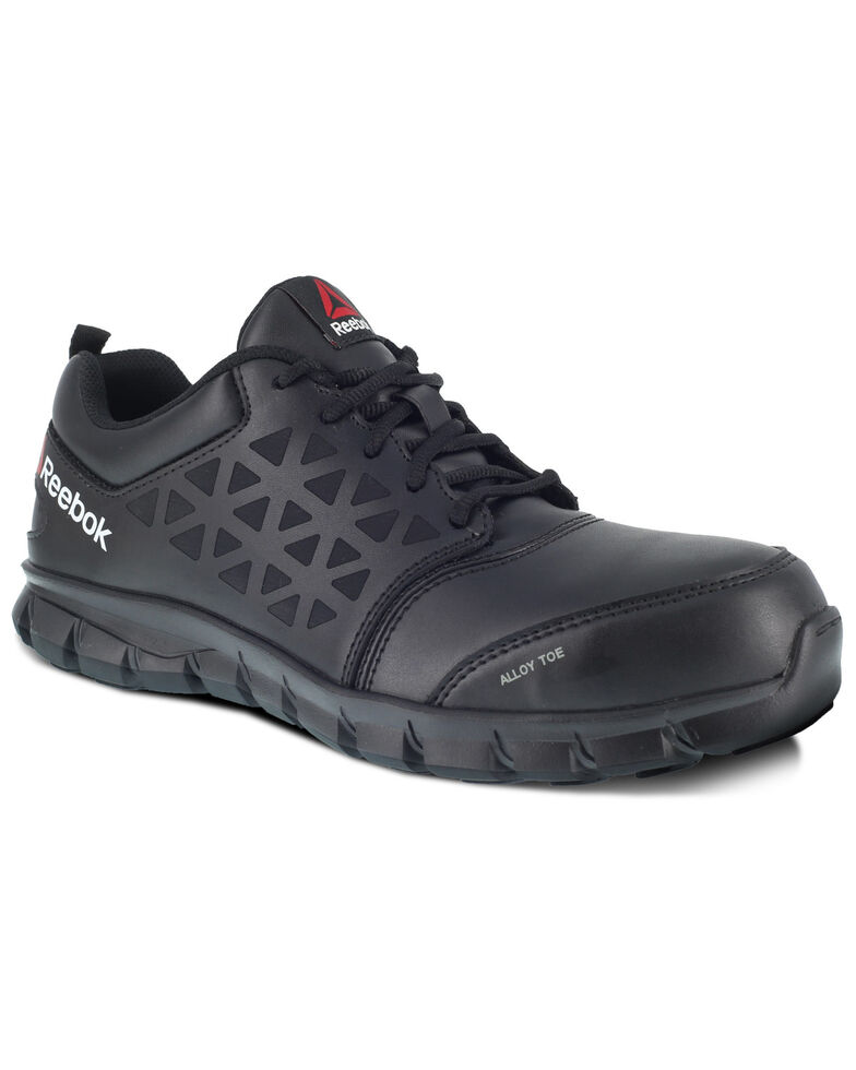 Reebok Men's Grey Sublite Cushion Work Shoes - Alloy Toe, Black, hi-res