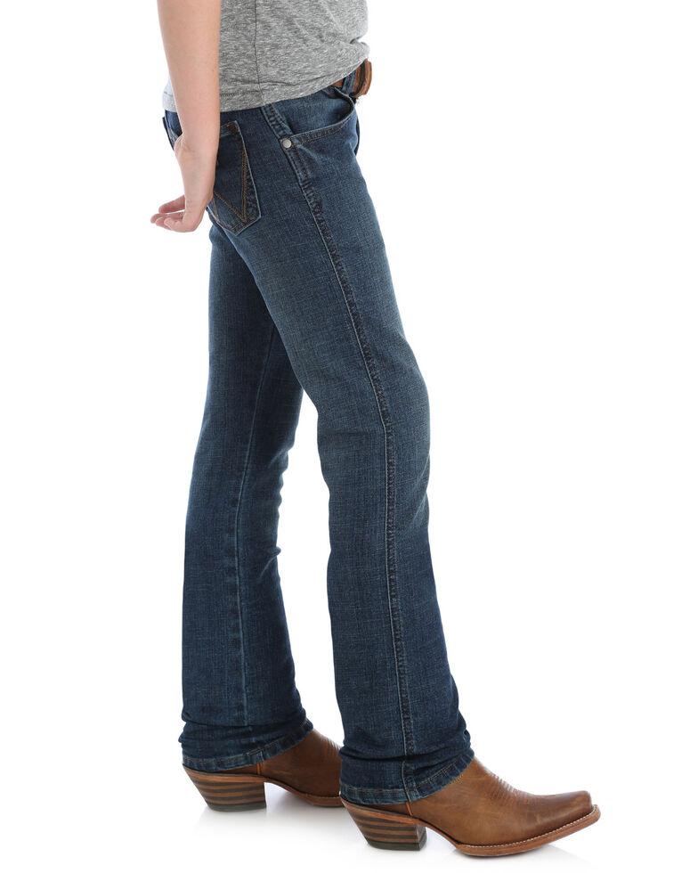 8bd451bd Zoomed Image Wrangler Retro Boys' Red River Dark Slim Straight Jeans ,  Blue, hi-res