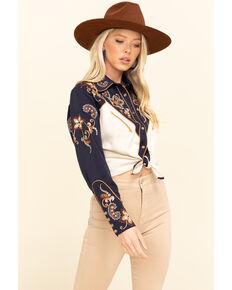 H Bar C Women's Navy Aspen Embroidered Long Sleeve Western Shirt , Navy, hi-res
