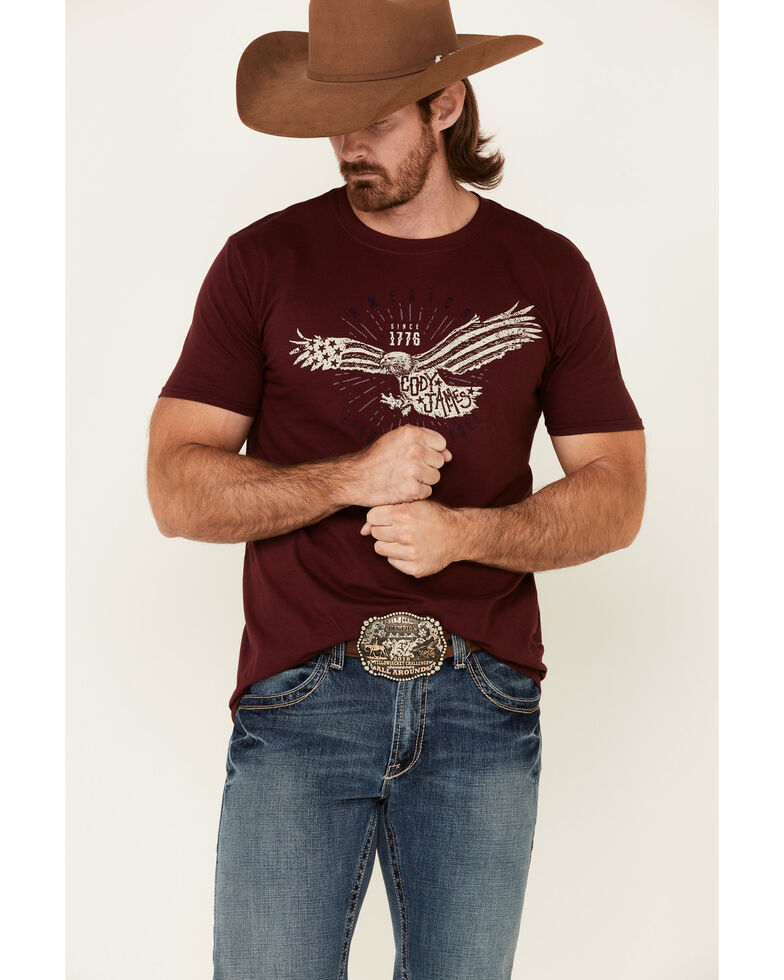 Cody James Men's Land Free Eagle Graphic Short Sleeve T-Shirt , Maroon, hi-res