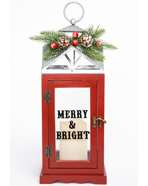 BB Ranch LED Candle Merry & Bright Christmas Lantern, Red, hi-res