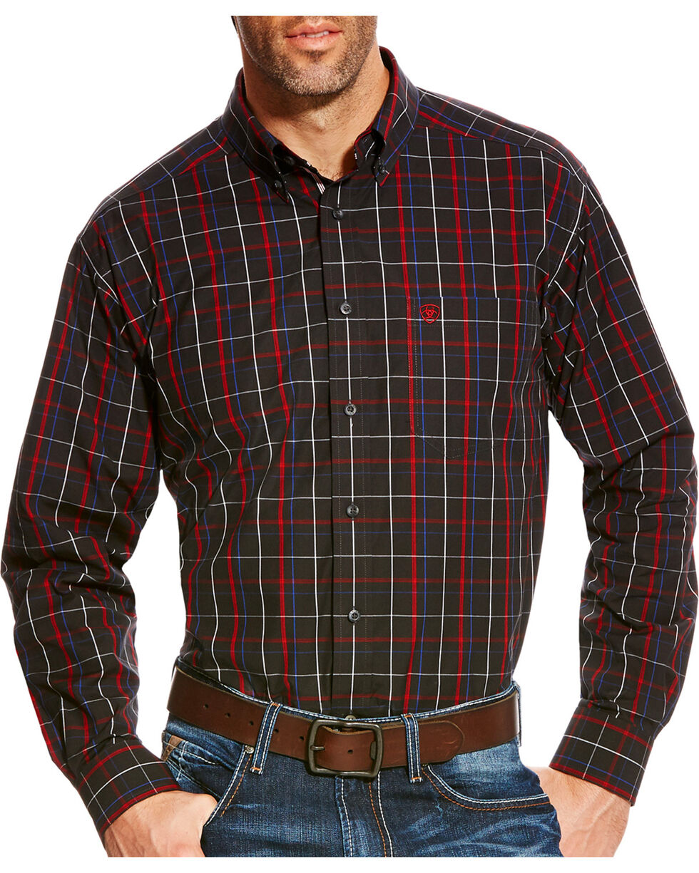 Ariat Men's Black Belk Pro Series Plaid Shirt , Black, hi-res