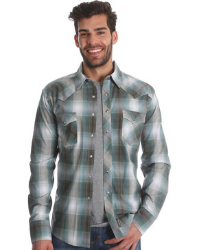 Wrangler Men's Teal Retro Long Sleeve Shirt , Beige/khaki, hi-res