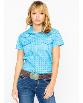 Panhandle Women's Nordini Antique Short Sleeve Western Shirt, Light Blue, hi-res