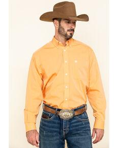 Ariat Men's Wrinkle Free Orange Oxford Solid Long Sleeve Western Shirt , Orange, hi-res
