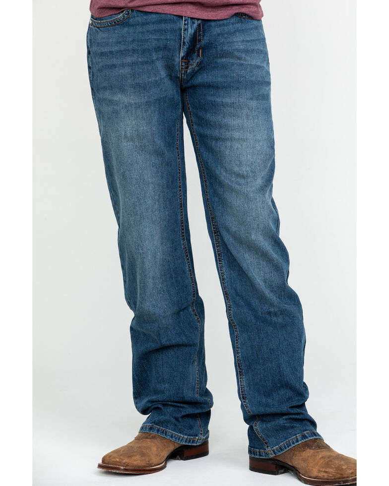 Rock & Roll Cowboy Men's X Stitch Double Barrel Relaxed Straight Jeans , Blue, hi-res