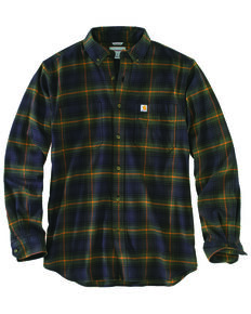 Carhartt Men's Rugged Flex Hamilton Plaid Long Sleeve Work Shirt - Big & Tall, Olive, hi-res