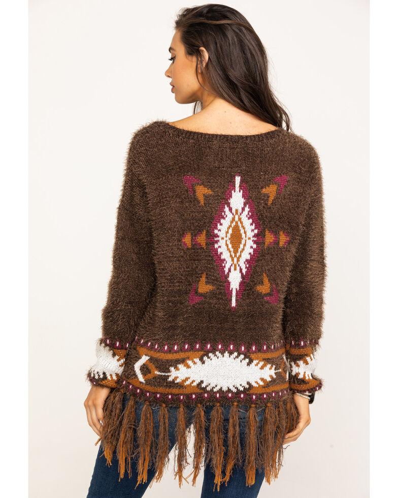 Powder River Outfitters Women's Brown Aztec Fringe Eyelash Sweater, Brown, hi-res