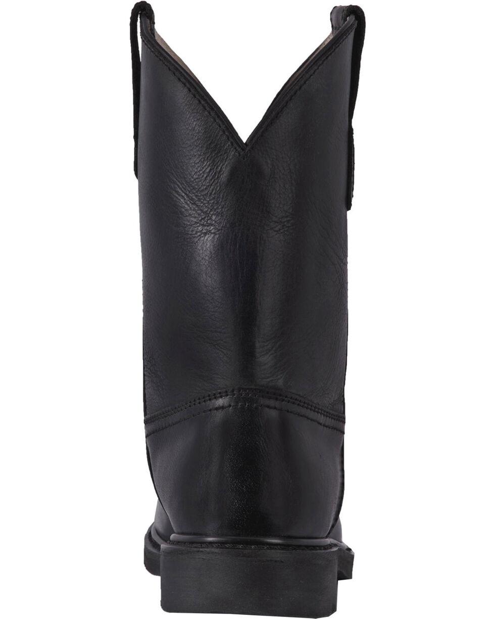 McRae Men's Black Leather Western Work Boots - Round Toe, Black, hi-res