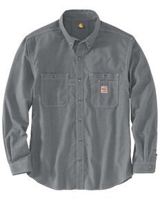 Carhartt Men's FR Force LW Performance Woven Long Sleeve Work Shirt , Grey, hi-res