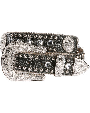 Nocona Women's Floral Embossed Western Belt, Black, hi-res