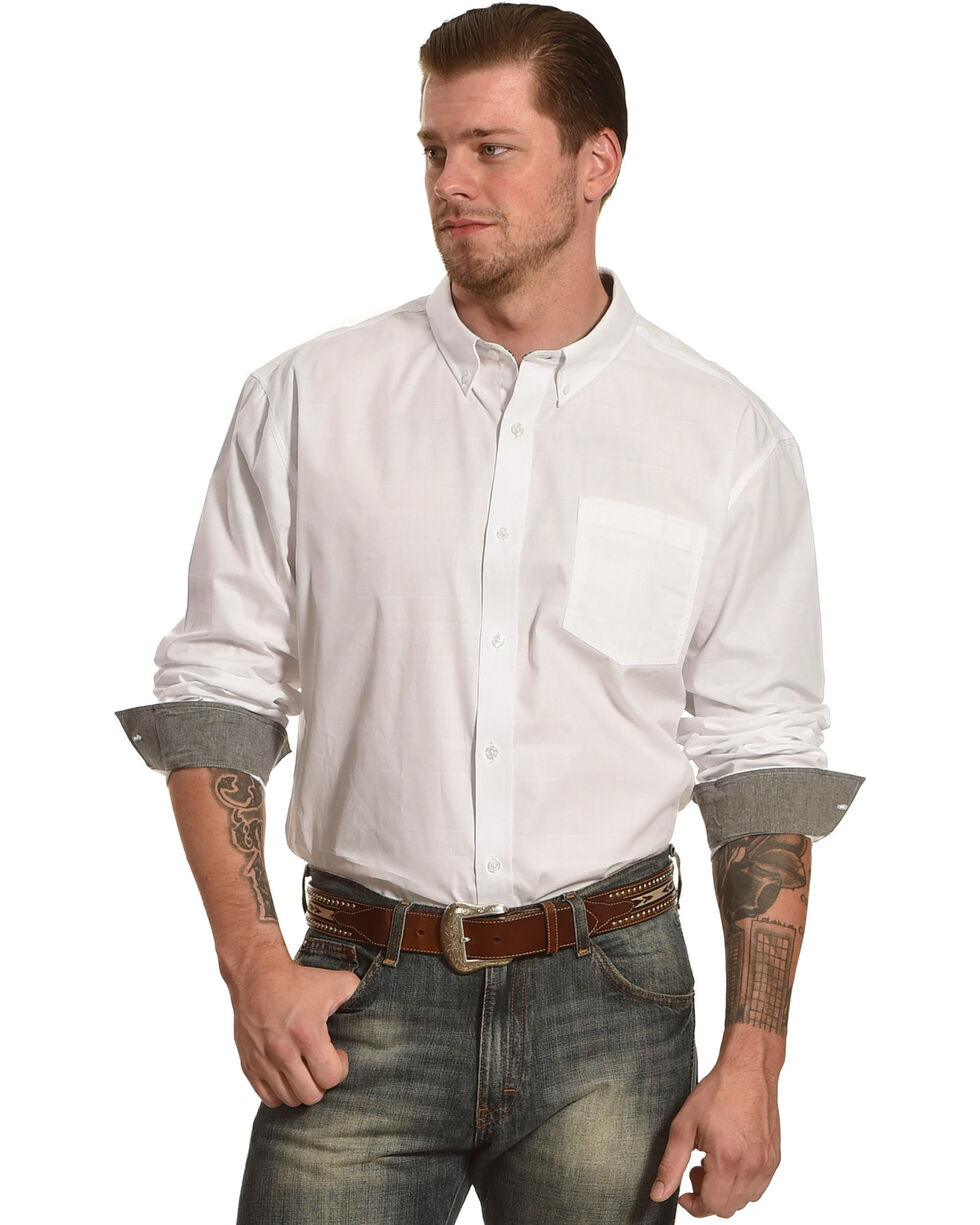Cody James® Men's Solid Pattern Long Sleeve Shirt, White, hi-res