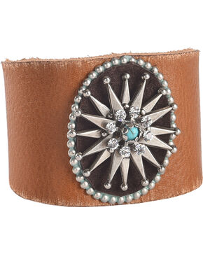 Cowgirl Confetti by AndWest Silver Starburst Concho Leather Cuff, Tan, hi-res