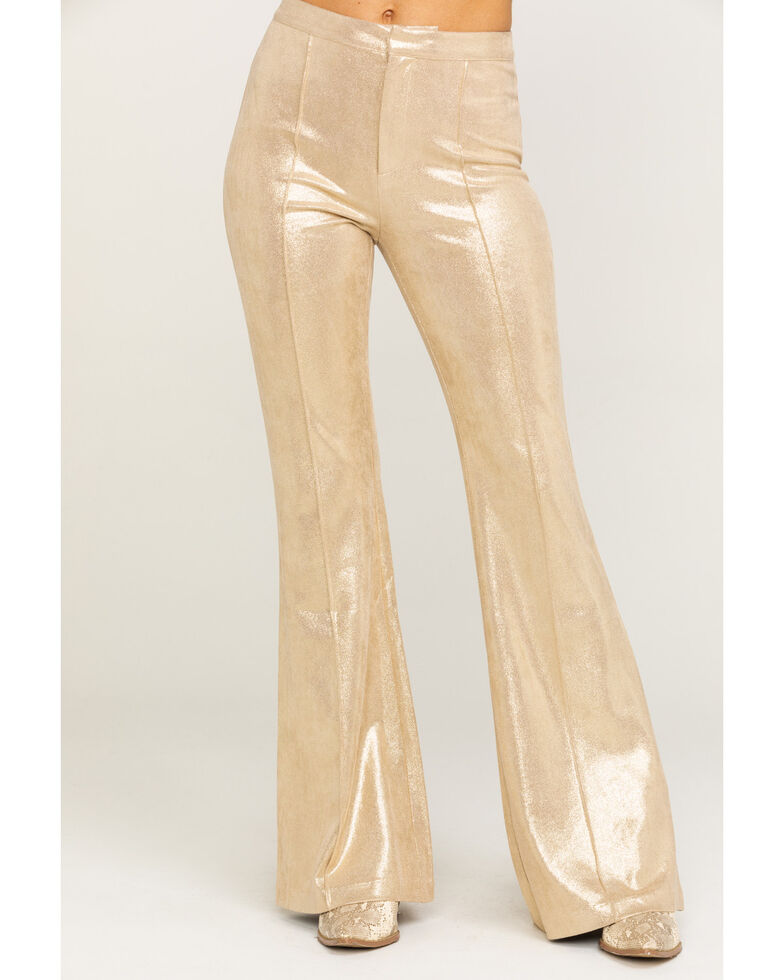 Flying Tomato Women's Beige Metallic High Rise Flare Jeans, Beige/khaki, hi-res