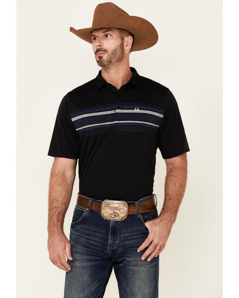 Cinch Men's Arena Flex Striped Short Sleeve Polo Shirt , Black, hi-res