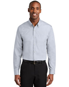 Red House Men's Ice Grey Nailhead Non-Iron Long Sleeve Work Shirt , Grey, hi-res