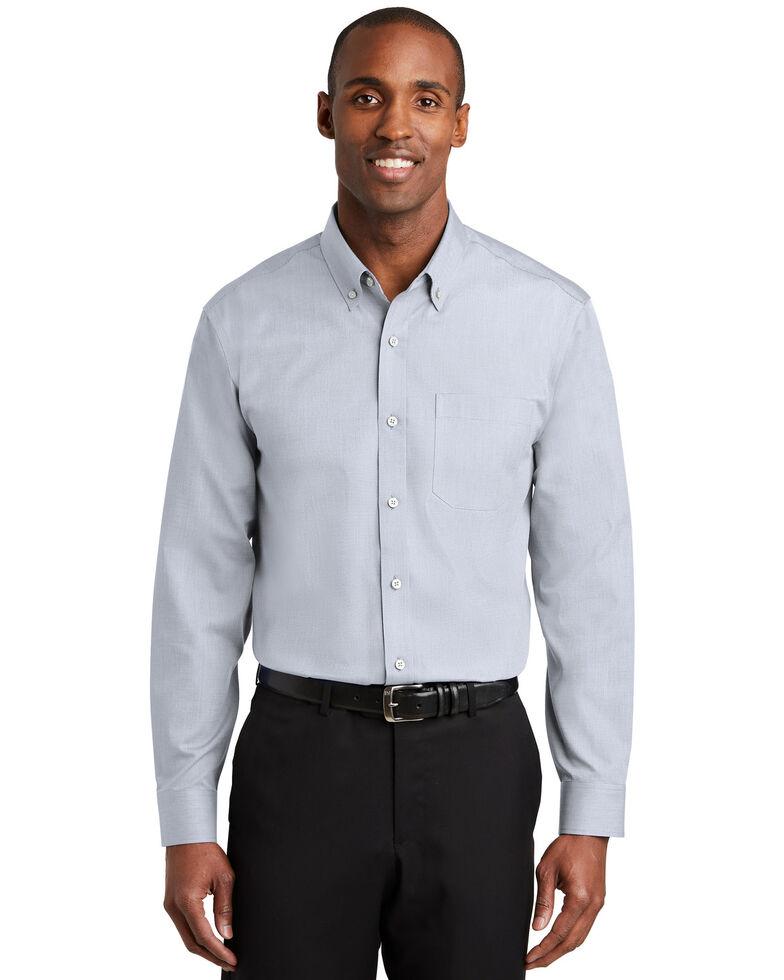 Red House Men's Ice Grey Nailhead Non-Iron Long Sleeve Work Shirt , Grey, hi-res