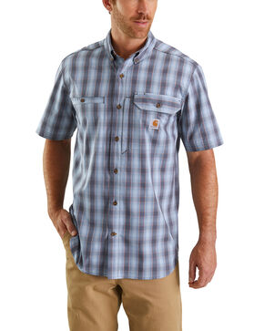 Carhartt Men's Blue Rugged Flex Rigby Plaid Short Sleeve Work Shirt - Big , Blue, hi-res