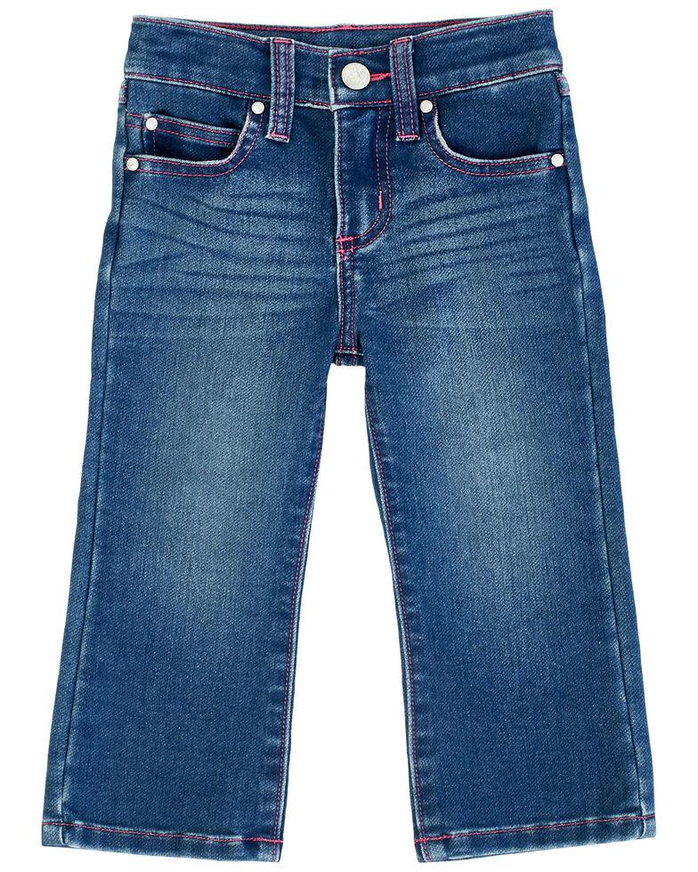 Wrangler Toddler Girls' Preschool Dark Bootcut Jeans, Blue, hi-res