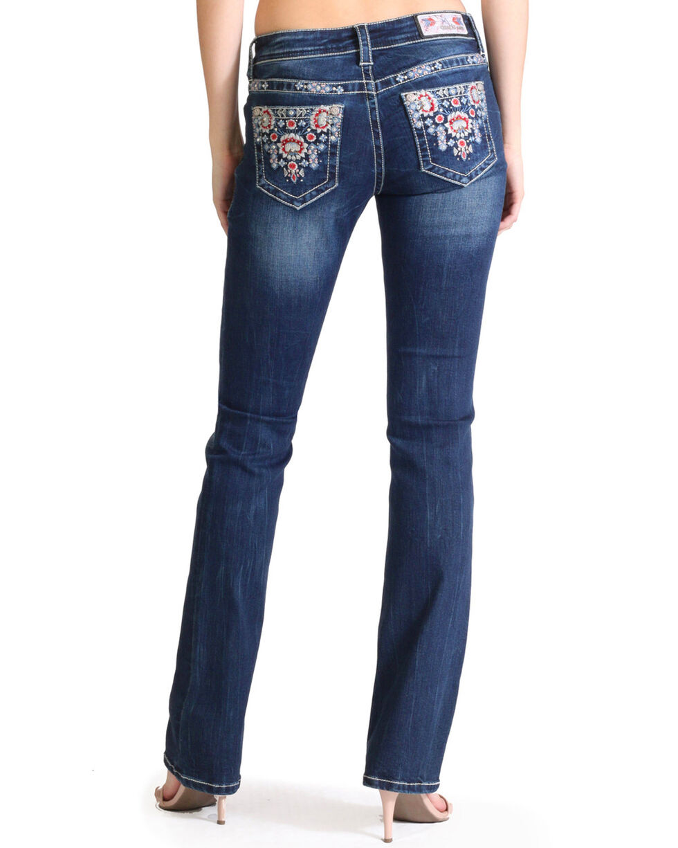 Grace in LA Women's Tribal Embroidered Boot Cut Jeans , Indigo, hi-res