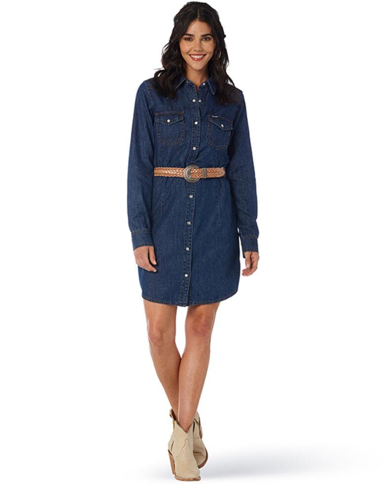 Wrangler Women's Dark Denim Washed Long Sleeve Western Shirt Dress, Indigo, hi-res