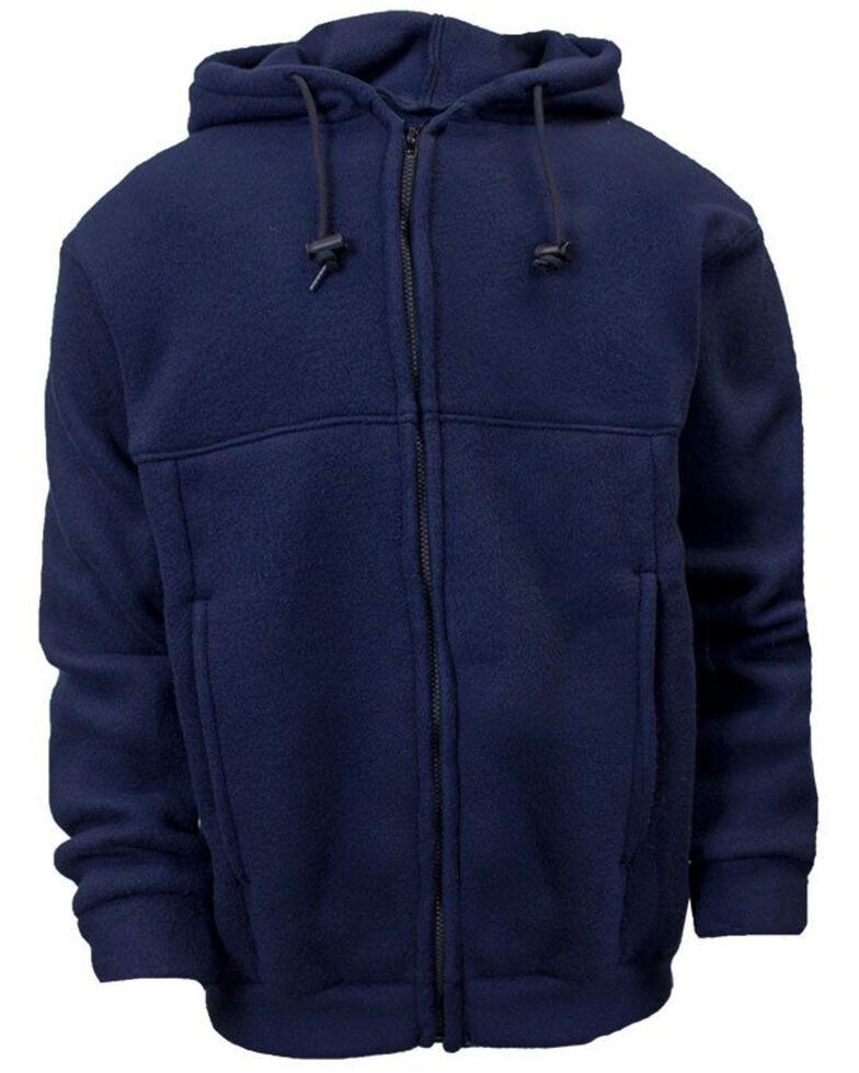 National Safety Apparel Men's Navy FR Fleece Zip Front Hooded Work Sweatshirt - Tall , Navy, hi-res