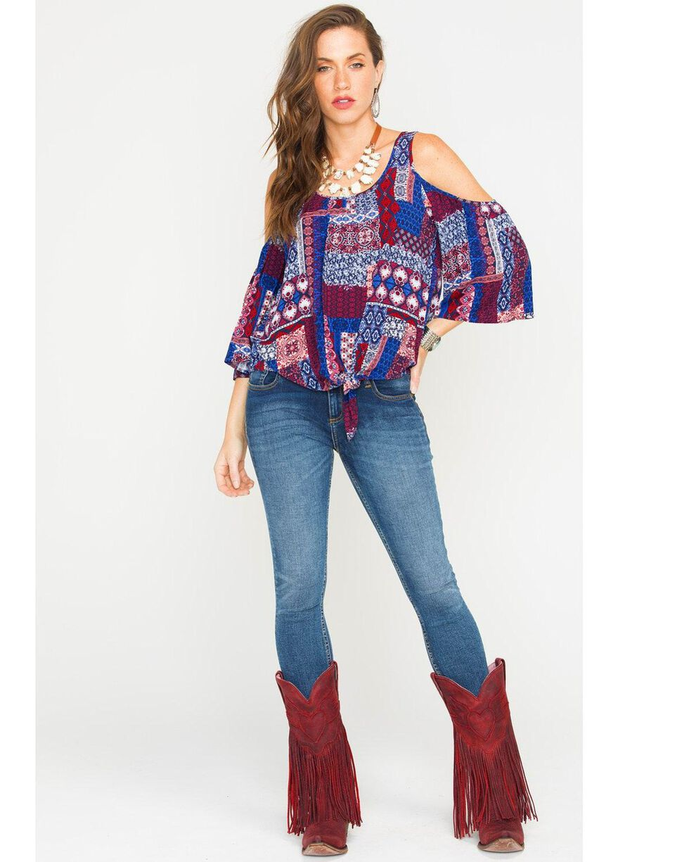 Eyeshadow Women's Cold Shoulder Patchwork Top, Red/white/blue, hi-res