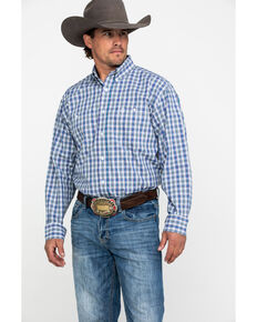 George Strait by Wrangler Men's Multi Small Plaid Long Sleeve Western Shirt , Purple, hi-res