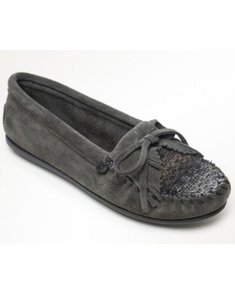 Minnetonka Women's Cordova Kilty Suede Moccasins - Moc Toe, Charcoal, hi-res