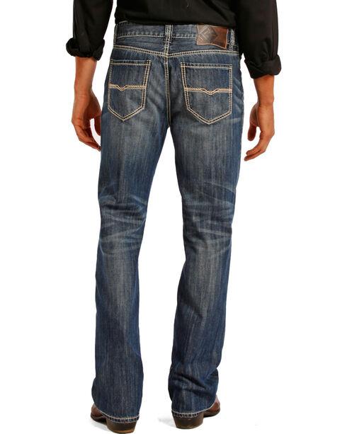 Rock and Roll Cowboy Double Barrel Medium Wash Cream Embroidered Jeans - Straight Leg , Indigo, hi-res
