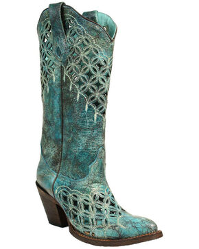 Corral Women's Turquoise Cutout & Embroidery Boots - Medium Toe , Turquoise, hi-res