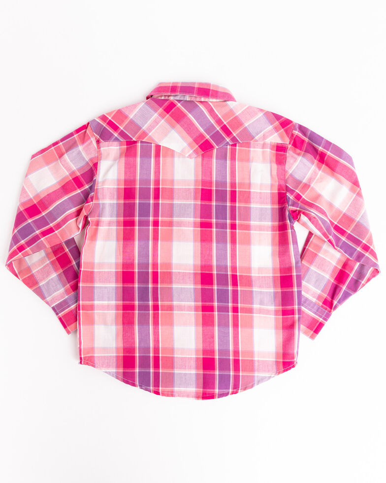 Shyanne Toddler Girls' Pink & Purple Plaid Horse Embroidered Long Sleeve Western Shirt, Pink, hi-res