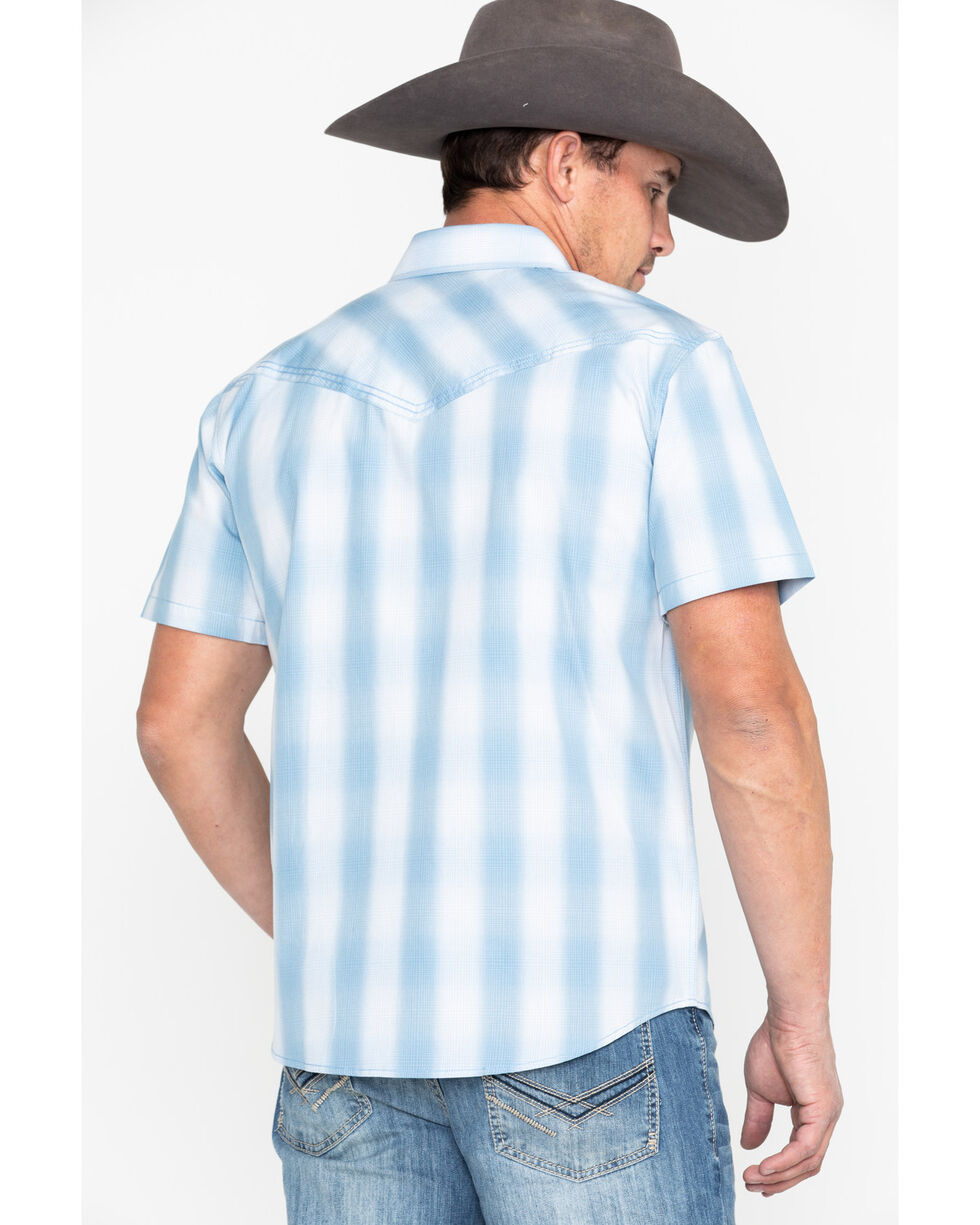 Cody James Men's Still Waters Ombre Plaid Short Sleeve Western Shirt - Big , Light Blue, hi-res