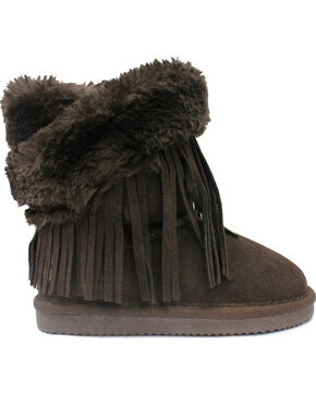 Lamo Footwear Kid's Fringe Wrap Boots, Chocolate, hi-res