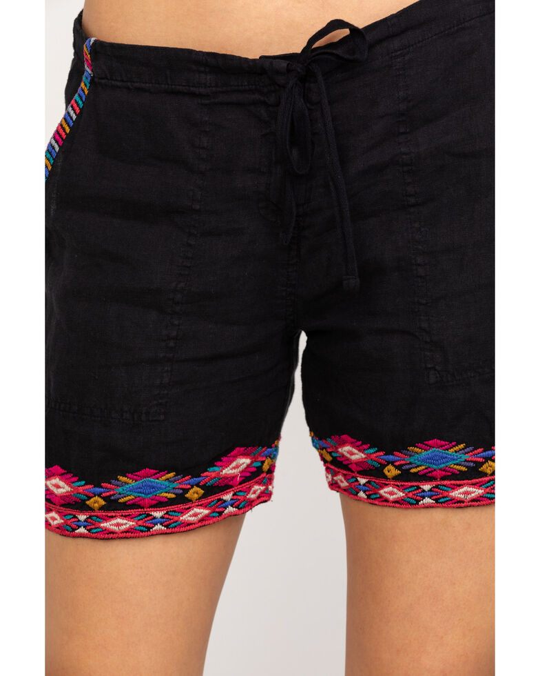 Johnny Was Women's Eitienne Linen Shorts, Black, hi-res