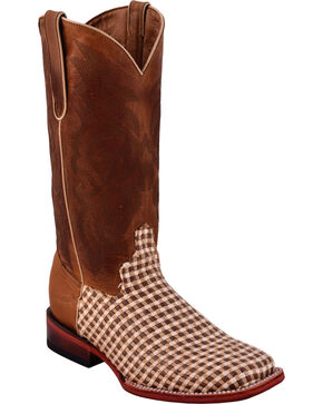 Ferrini Women's Basket Weave Brown Cowgirl Boots - Square Toe, Brown, hi-res