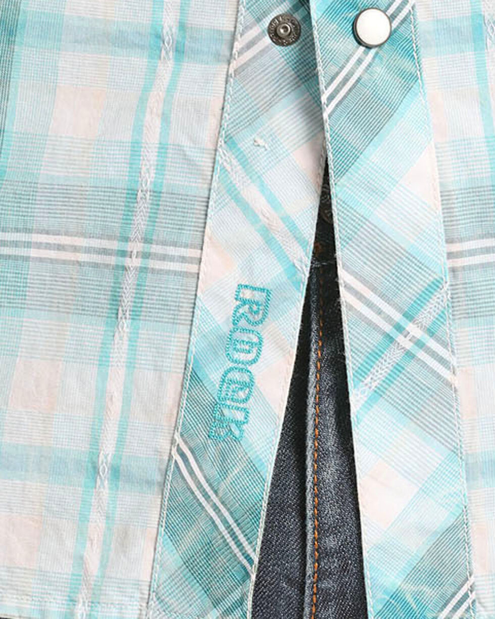 Rock & Roll Cowboy Men's Long Sleeve Light Blue Plaid Button Down, White, hi-res