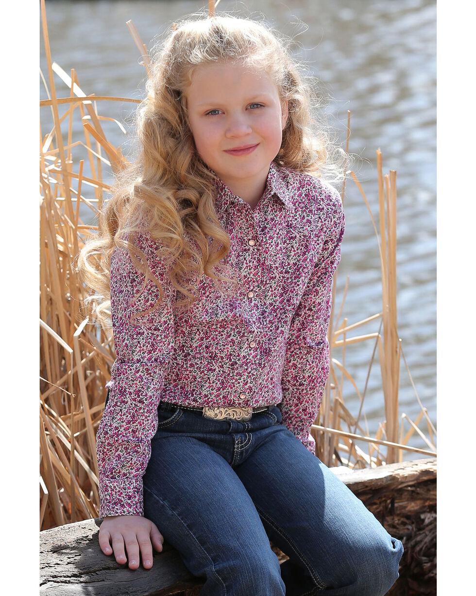 Cruel Girl Girls' Floral Print Snap Long Sleeve Western Shirt, Multi, hi-res