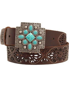 Ariat Aztec Cross Buckle Belt, Brown, hi-res