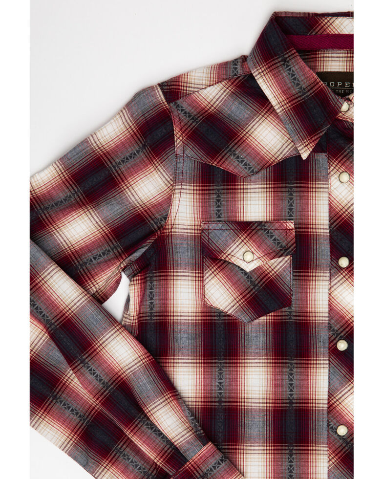West Made Girls' Dobby Plaid Long Sleeve Western Shirt, Red, hi-res