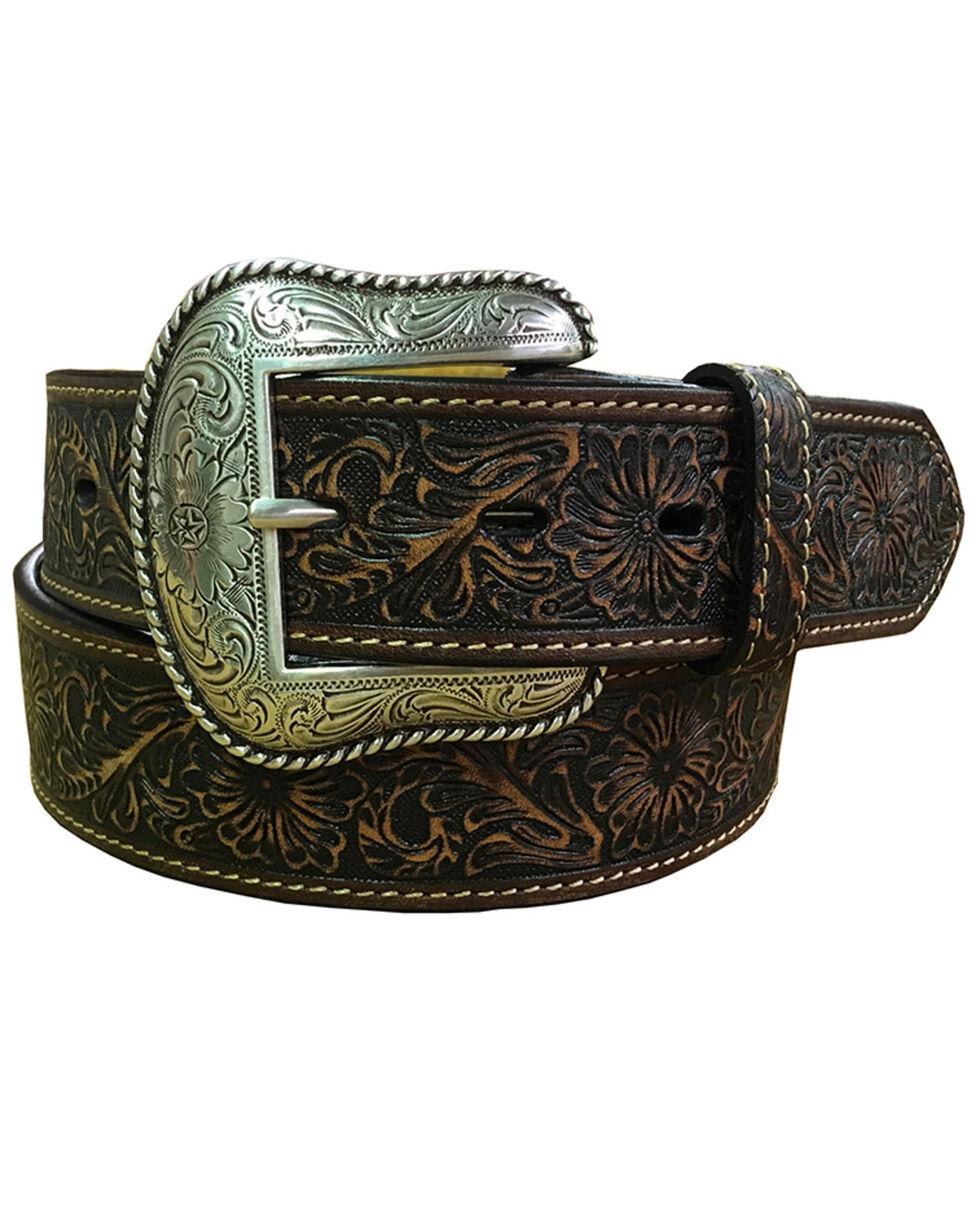 Roper Men's Brown Embossed Leather Belt , Dark Brown, hi-res