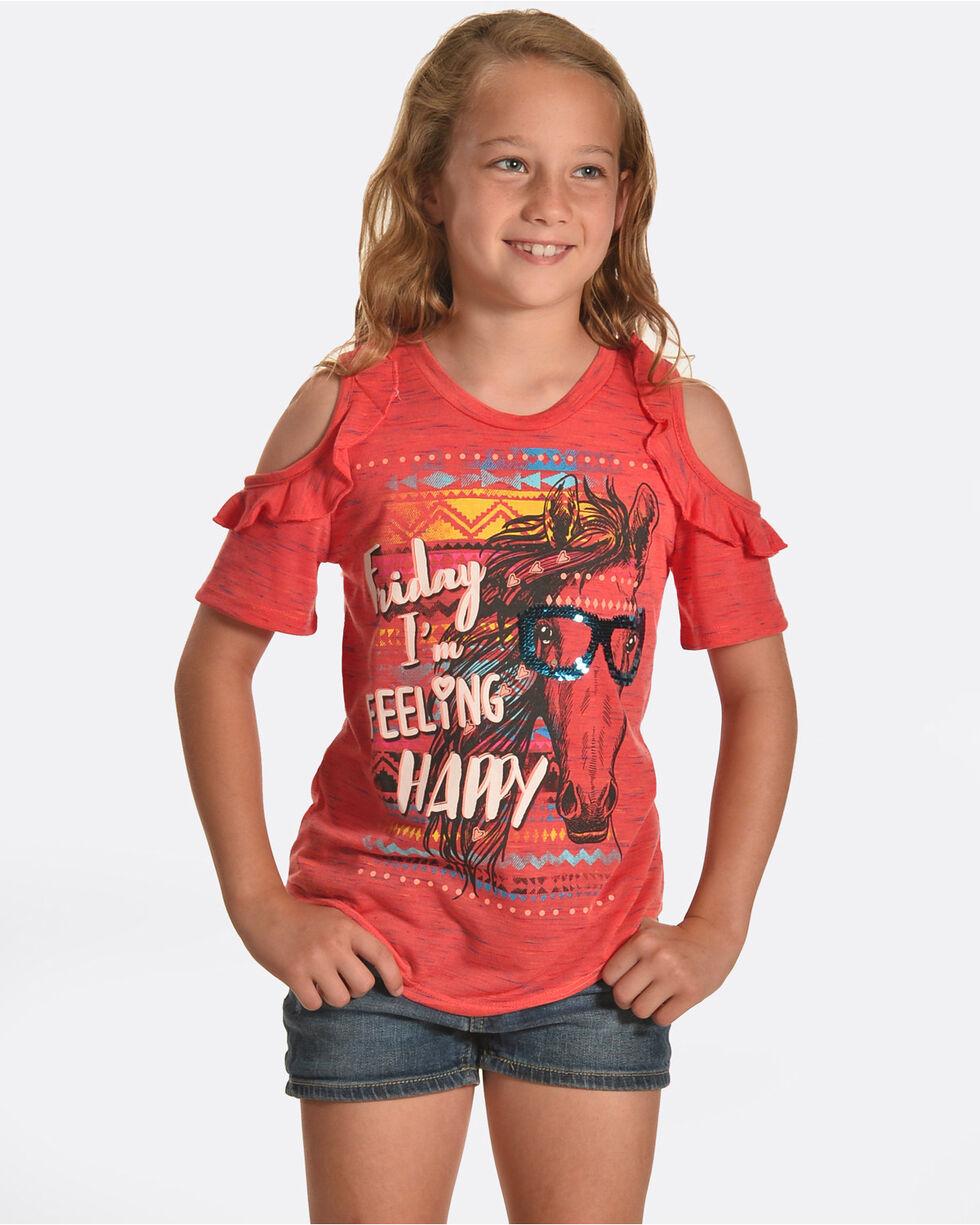 Shyanne Girls' Friday Feeling Cold Shoulder T-Shirt, Coral, hi-res