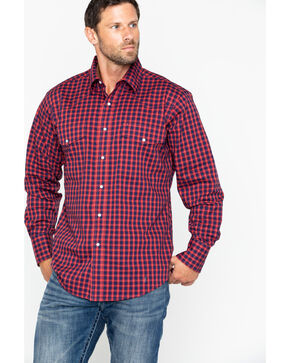 Wrangler Men's Wrinkle Resist Small Plaid Long Sleeve Western Shirt , Blue/red, hi-res