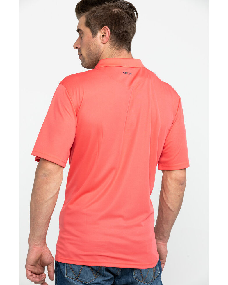 Ariat Men's Coral TEK Short Sleeve Polo Shirt , Coral, hi-res